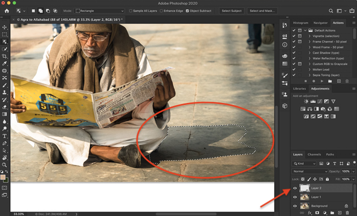 Screenshot of Photoshop. Shows shadow selected and copied onto a new layer
