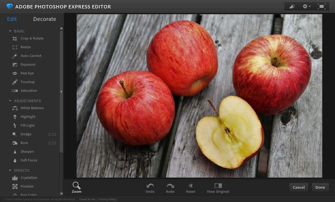 Фоторедактор онлайн Photoshop Express